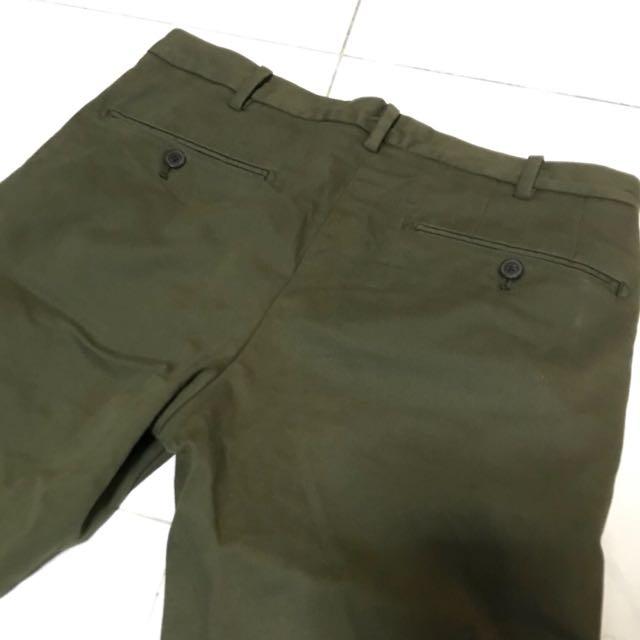 Uniqlo skinny fit 29腰軍綠長褲