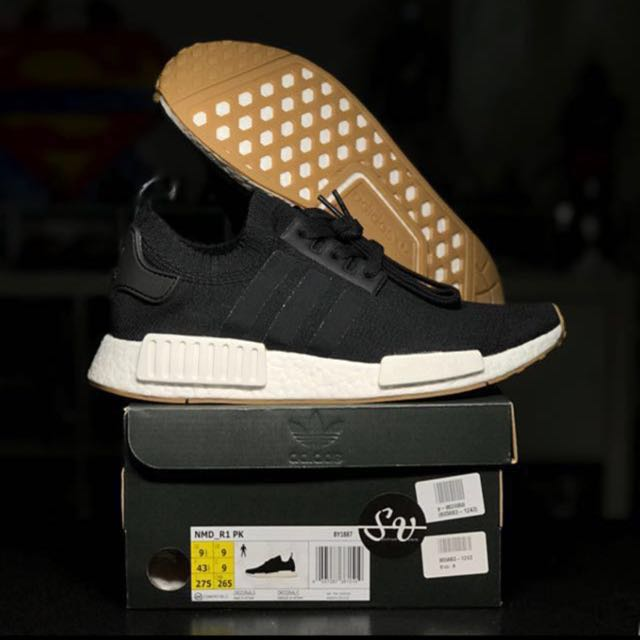 76e4ccdfcb3a ... order us 9.5 adidas nmdr1 pk primeknit core black white gum sole  runners limited edition exclusive