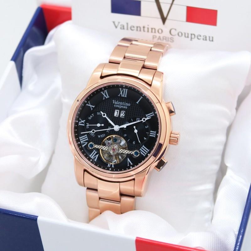 Valentino Coupeau 范倫鐵諾 真三眼 日期 月 星期 似陀飛輪 自動機械錶 不鏽鋼 水晶鏡面