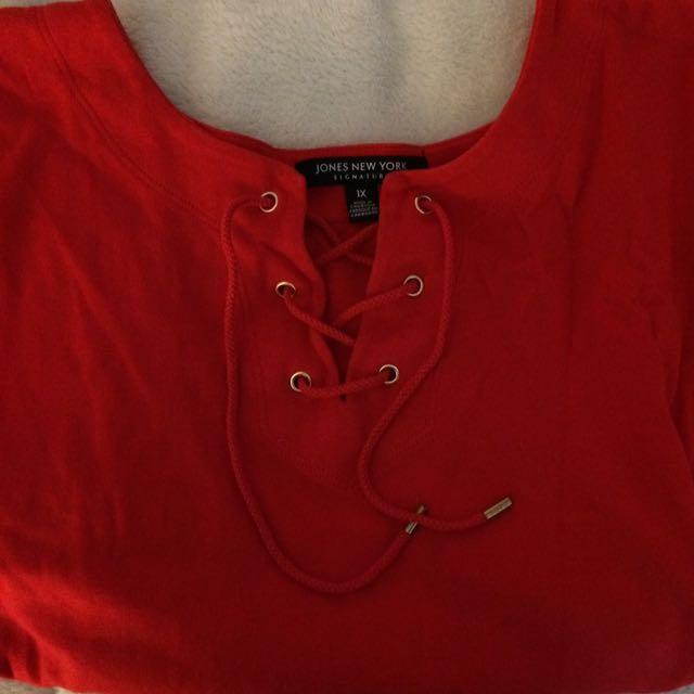 Vintage tie up red tee