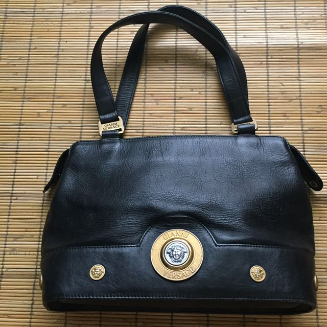 1e549363aef2 Vintage Versace Black Leather Tote Shoulder Bag