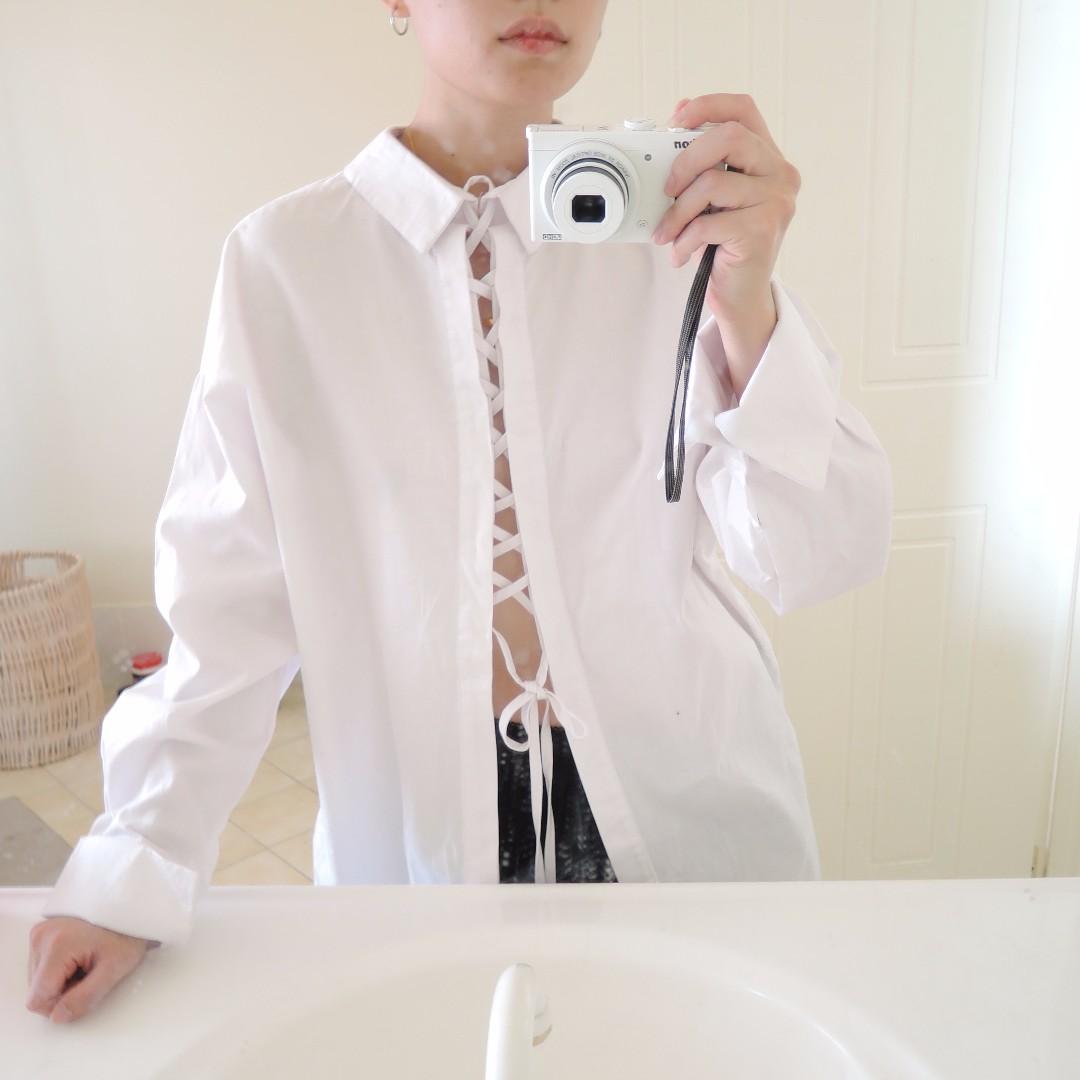 White Oversized Lace Up shirt
