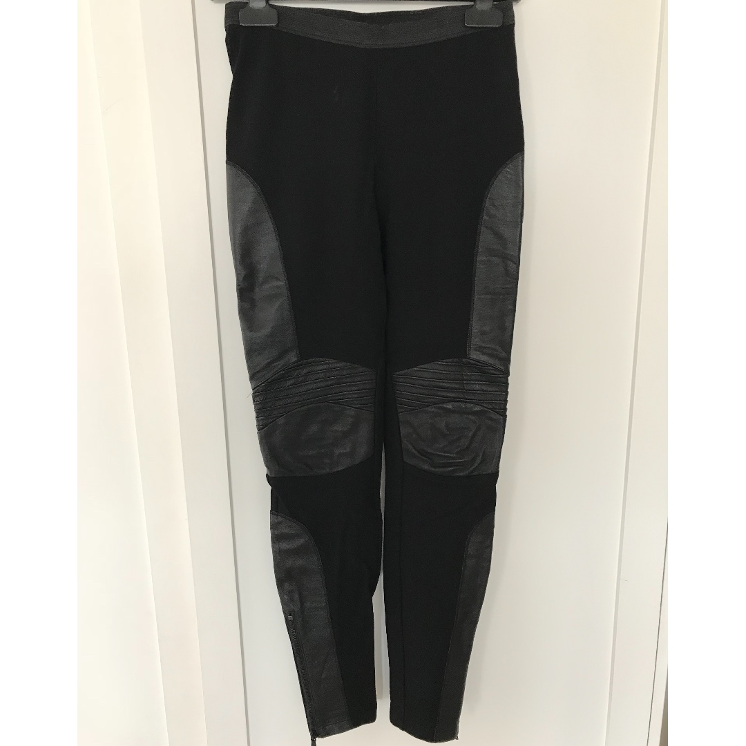 Witchery Black Legging with Leather Panelling - Size 8