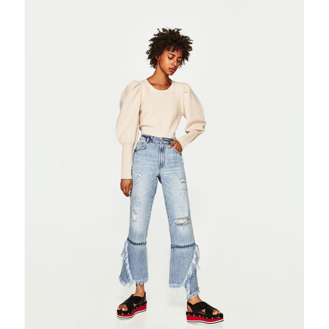 e7508d0f32 ZARA DENIM TRF IX'D MAKERS - Flared Ripped Jeans, Women's Fashion ...