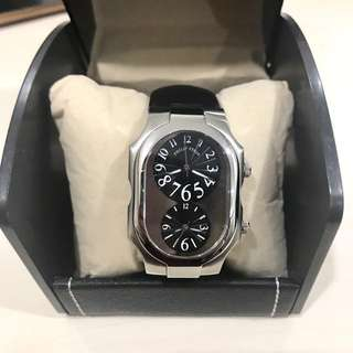 Brand New Authentic Philip Stein Large in Black Leather Strap Watch