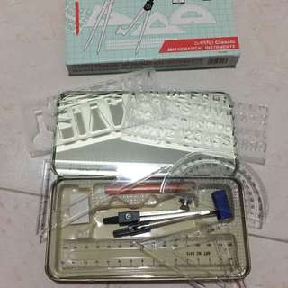 Mathematical Set (compass, triangle set, ruler, protractor, pencil)