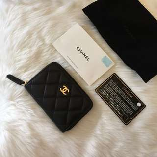 Chanel brand new 羊皮銀包 咭片套 Double coins cardholder wallet
