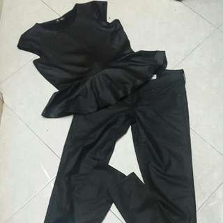 Set of Peplum and Jeans Leather type