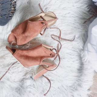 Suede Lace Up Heels Size
