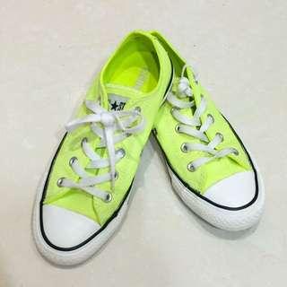 Converse Allstar 螢光黃 低筒 帆布鞋