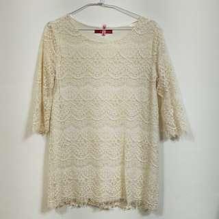 正韓製氣質千金風蕾絲七分袖長上衣/連身洋裝