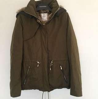 Zara faux fur lined Army Green winter coat size XS