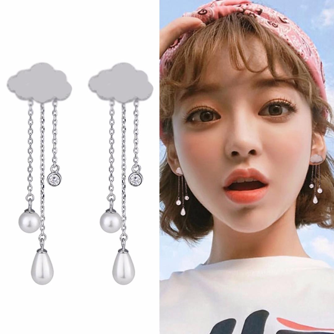 ╭✿蕾兒0509✿╮BB091-正韓精工望向天際雲朵雨滴佐珍珠流蘇垂墜耳環耳釘耳飾品