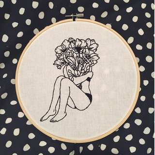 Girl Holding Flowers Embroidery