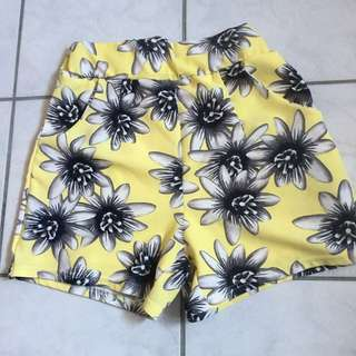 Yellow floral shorts from Japan