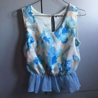 Luxe Rose white and blue peplum top