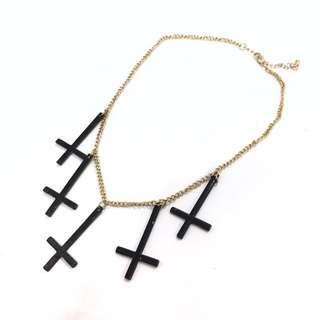 Anti-Christ Rebel Drop Black Cross Necklace