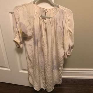 Aritzia Wilfred silk short sleeve shirt dress