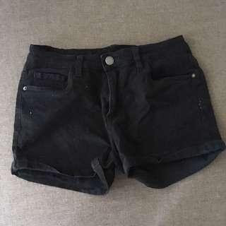 Black mid waist shorts