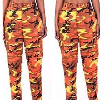 PLUGGED Orange Camo Pants