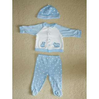 BABY BOYS' SIZE 00 (3-6M) CUTE BEAR PYJAMAS SET OUTFIT – LITTLE ME