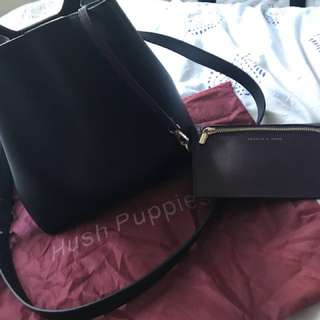 Hush Puppies Leather black Bucket bag