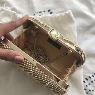 Party gold clutch bag
