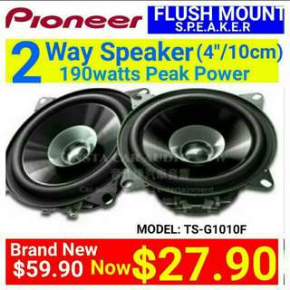 """[Brand New]  PIONEER 2017 New Model  4""""/10CM Coaxial Speaker 190Watts Peak Power.  Model number: TS-G1010. Usual Price: $ 59.90. Special Price: $27.90"""