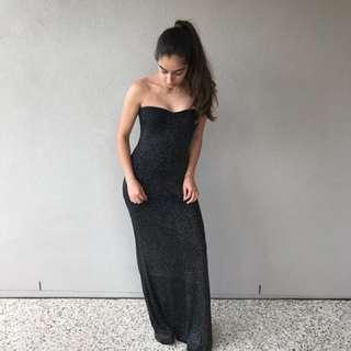 Hiring out black shiny dress