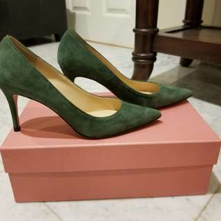 **BRAND NEW - A TERRE Real Suede Dark Green Heels**