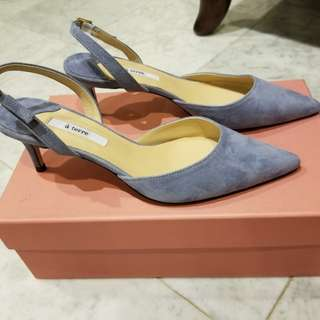 **BRAND NEW - A TERRE Indi Blue Slingbacks Real Suede**