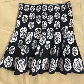 B&W Floral Skirt