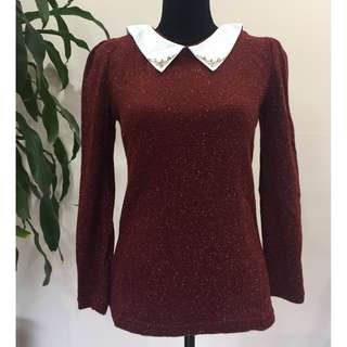 BRAND NEW Lolita Style Vintage Collar Knitted Jumper Sweater (FROM JAPAN)