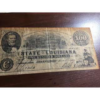 Antique 154 years old State of Lousiana Shreveport $100 note