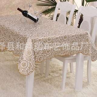 Taplak Meja Motif Bunga Coklat, Pelindung Meja, Dekorasi, Rumah Tangga