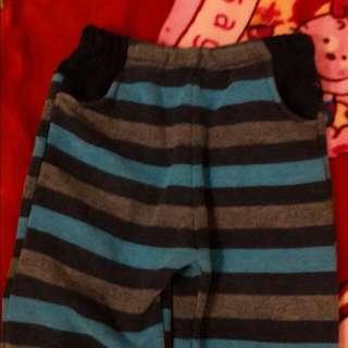 兒童  藍灰橫條紋長褲(純棉)