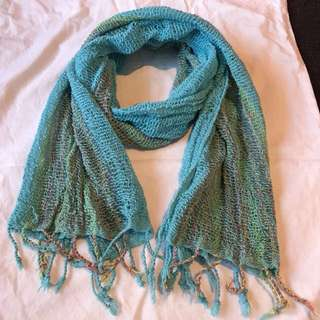 Turqoise Scarf with Multi-Coloured Details