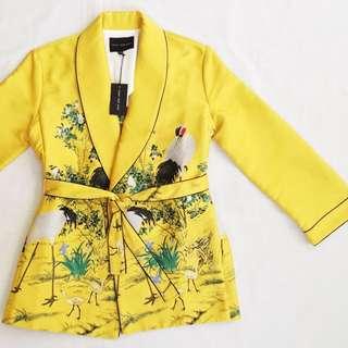 FRS Yellow Crane Embroidery Kimono Jacket