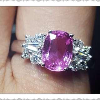 18K白金粉紅藍寶鑽石戒指