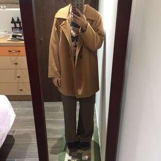 日韓古著駝色大衣
