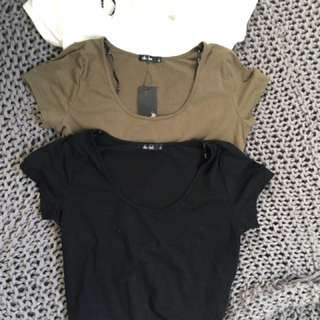 3 x crop tops black white khaki