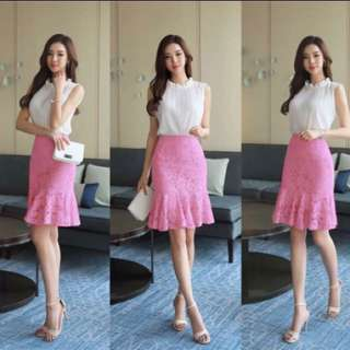 White ruffle halterneck top pink lace skirt terno