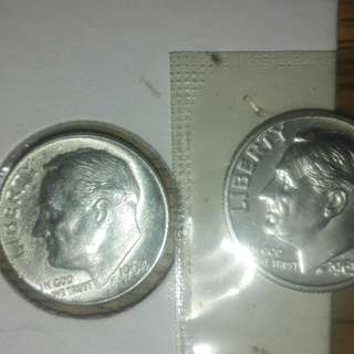 1964 &1963 silver dime and Jefferson gem proof