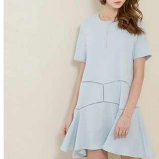 台灣品牌 KODZ 淺藍及膝裙