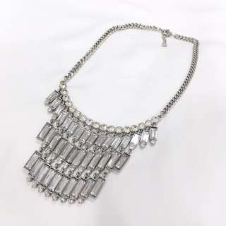 H&M silver stairs drop necklace