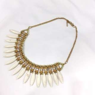 Tribal White Fangs Gold Necklace