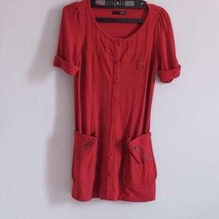 Dress merah Leaf (A0030)