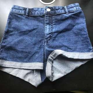 Dark Blue High Waisted Shorts