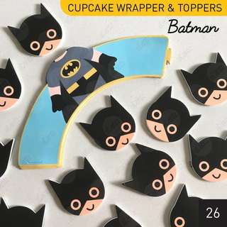 [$5/24pcs] BATMAN Cupcake Toppers & Wrappers for Party Birthday Boys/Girls