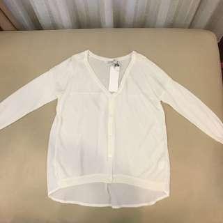 🚚 Single noble 白色V領前短後長薄外套